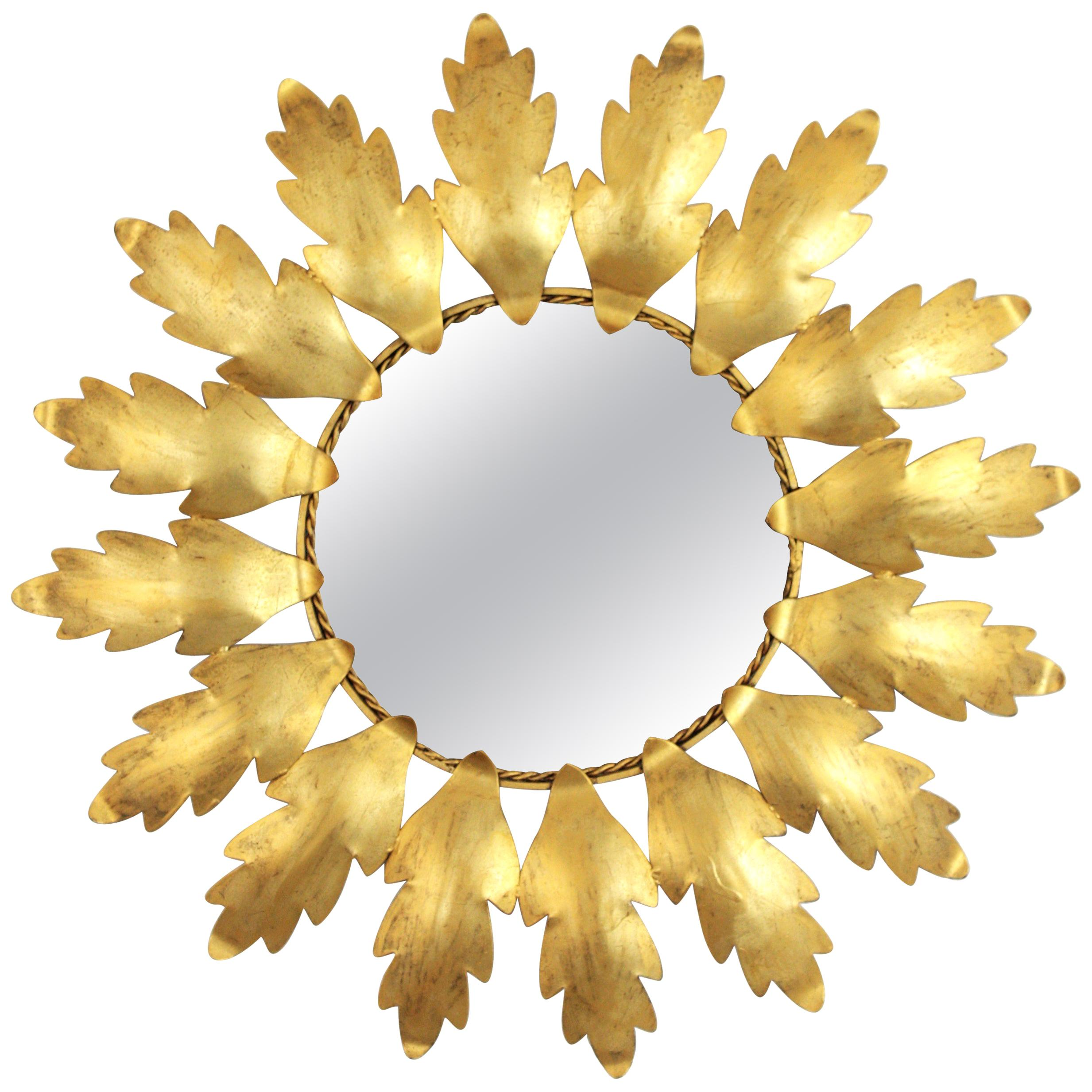 Spanish Sunburst Mirror in Gilt Metal, 1960s