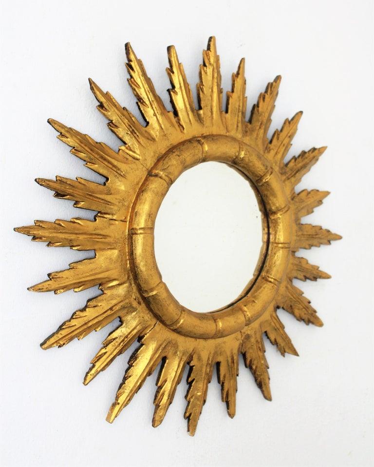 Hand-Carved Spanish Sunburst Starburst Mirror in Carved Giltwood, 1950s For Sale