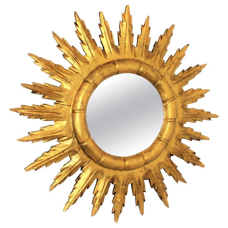 Spanish Sunburst Starburst Mirror in Carved Giltwood, 1950s For Sale