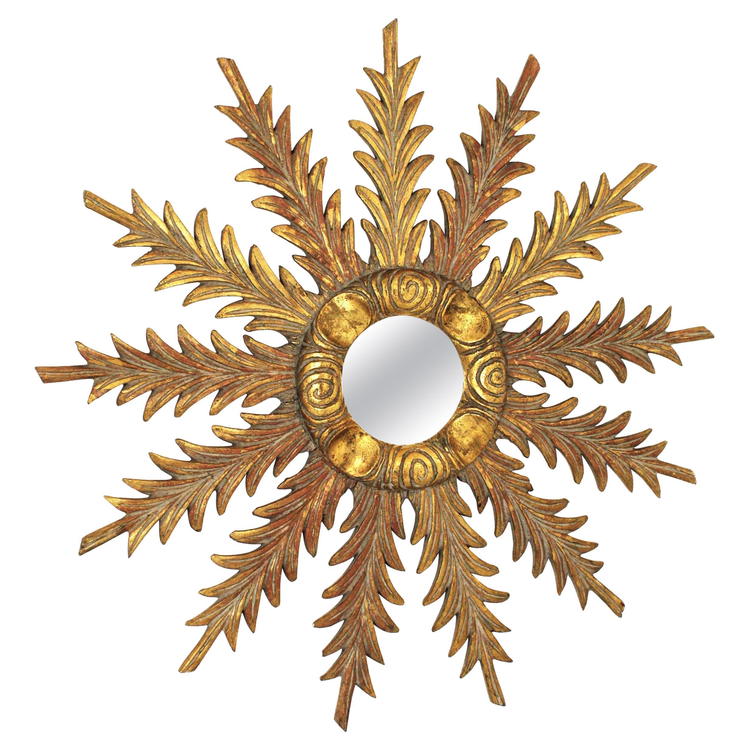 Spanish Sunburst Starburst Mirror in Giltwood