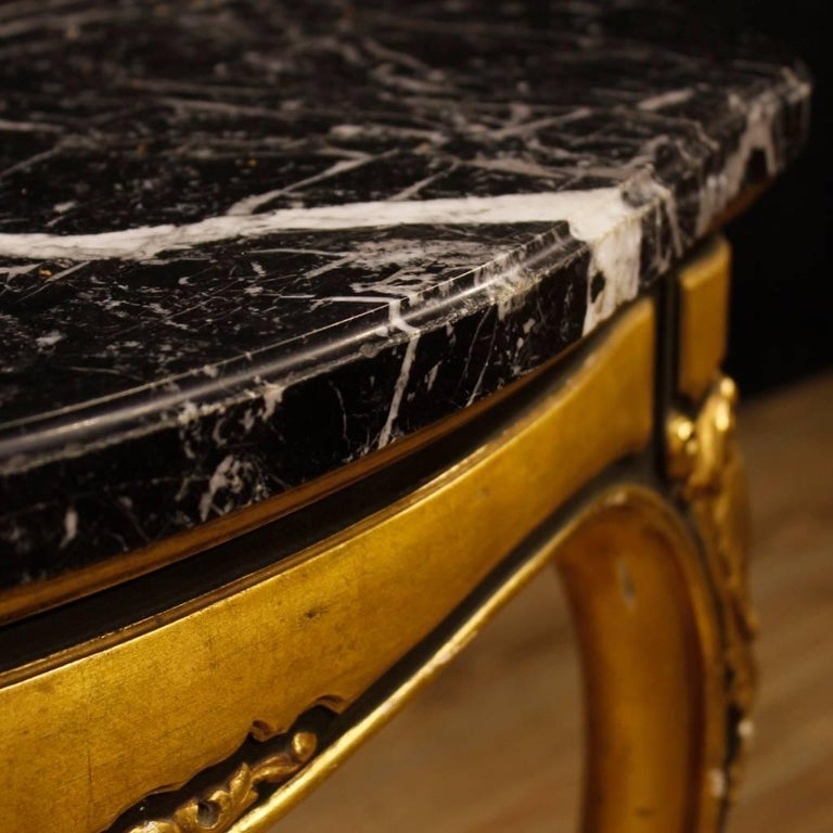 Spanish Table in Lacquered and Giltwood with Marble Top from 20th Century For Sale 7