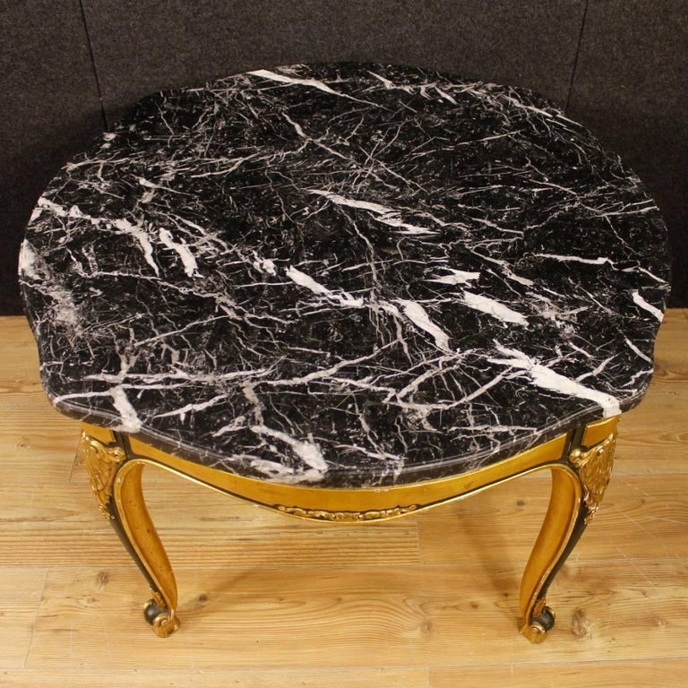 Spanish Table in Lacquered and Giltwood with Marble Top from 20th Century For Sale 1