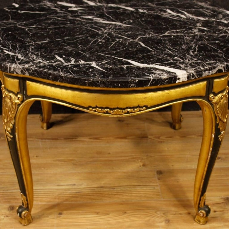 Spanish Table in Lacquered and Giltwood with Marble Top from 20th Century For Sale 6
