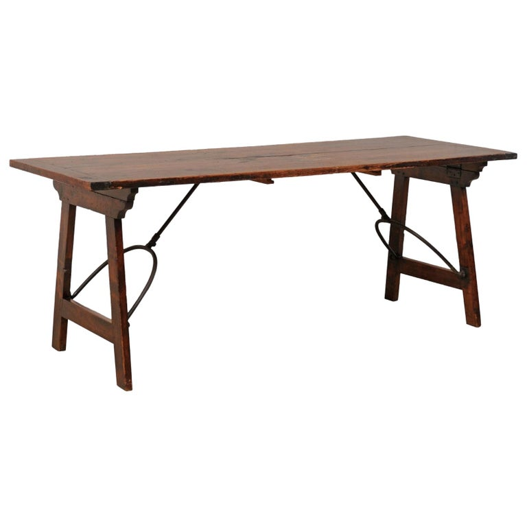 Spanish Table with Legs Uniquely Designed to be Folded for Easy Storage For Sale
