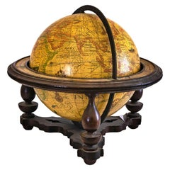Spanish Tabletop Globe with Turned Wood Support, Early 20th Century