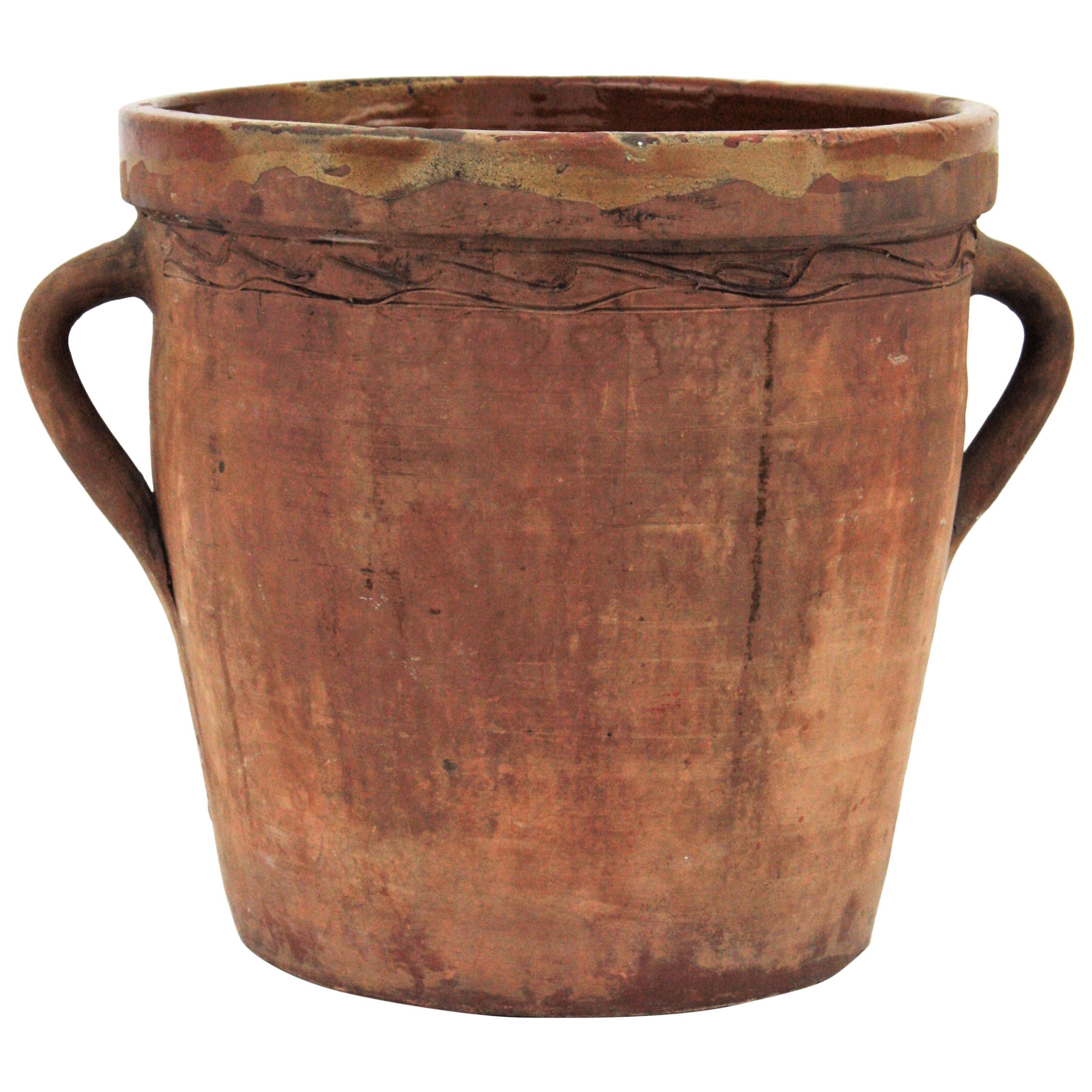 Spanish Terracotta Cheese Jar with Handles, 19th Century