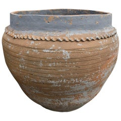 Spanish Terracotta Planter with Decorative Sculpted Lines and Worn Blue Glaze
