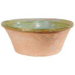 Spanish Terrocatta Bowl with Green Inner Glazing from the Mid-20th Century