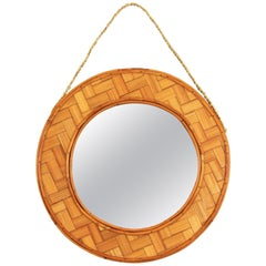 Spanish Tiki Style Woven Bamboo and Rattan Hanging Mirror, 1960s
