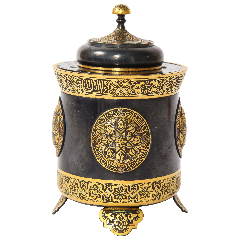 Spanish Toledo Gold and Platinum Inlaid Damascene Iron Covered Box Centerpiece