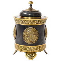 Spanish Toledo Gold and Platinum Inlaid Damascene Iron Covered Box Centerpiece