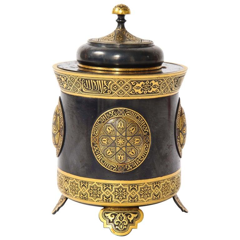 Spanish Toledo Gold and Platinum Inlaid Damascene Iron Covered Box Centerpiece For Sale