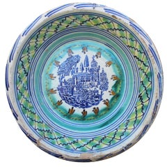 Spanish Triana Whit Green, Blue and Yellow Glazed Terracotta Lebrillo
