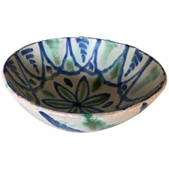 Spanish Turn of the Century Fired Painted Green and Blue Earthenware Bowl