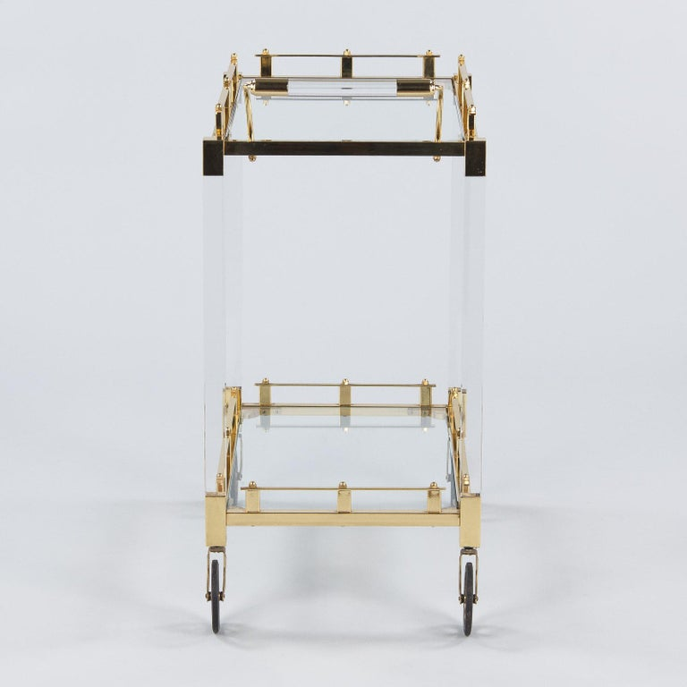 Spanish Vintage Lucite and Brass Bar Cart, 1970s For Sale 6
