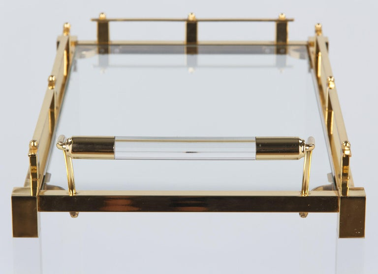 Spanish Vintage Lucite and Brass Bar Cart, 1970s For Sale 7