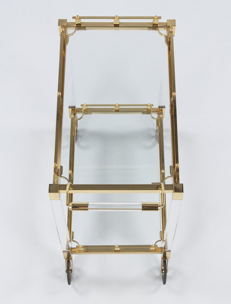 Spanish Vintage Lucite and Brass Bar Cart, 1970s For Sale 8