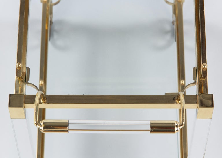 Spanish Vintage Lucite and Brass Bar Cart, 1970s For Sale 9