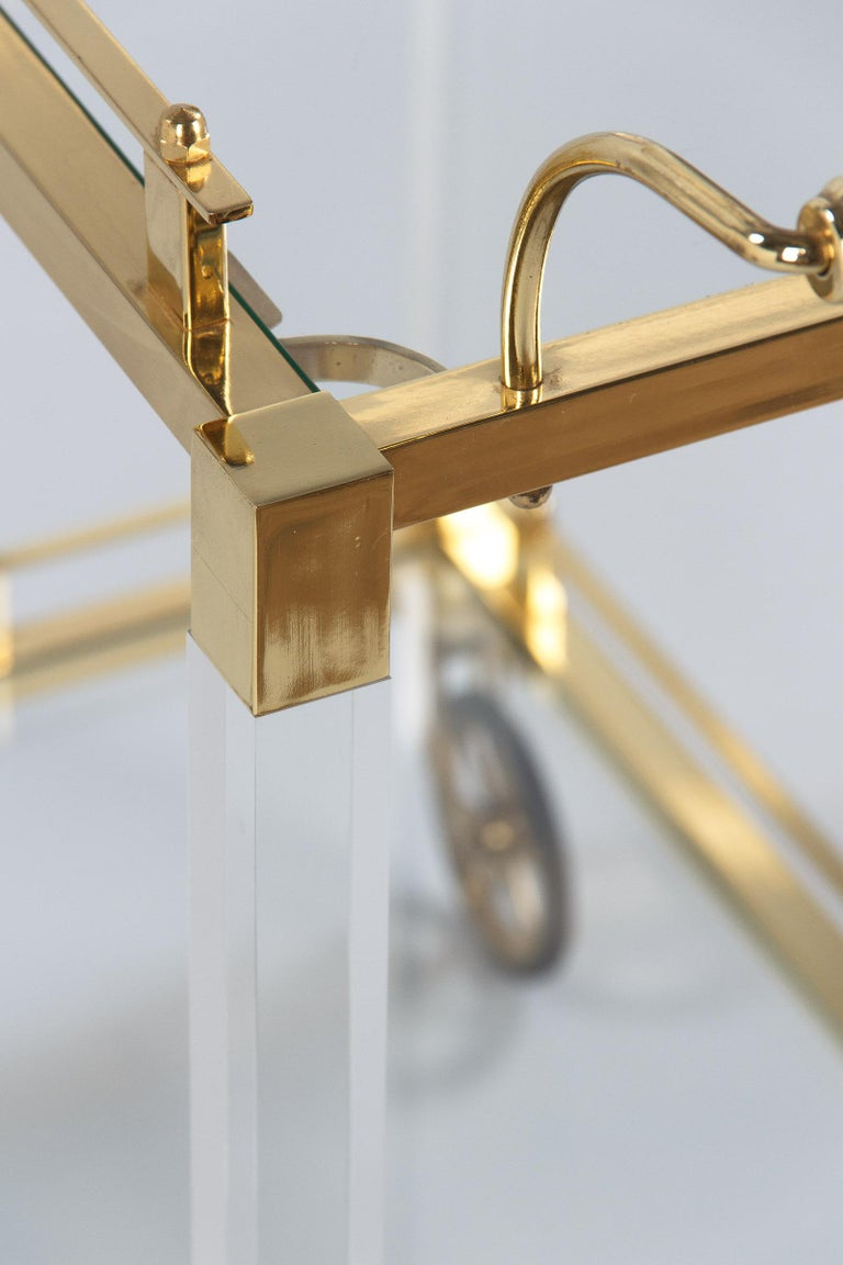 Spanish Vintage Lucite and Brass Bar Cart, 1970s For Sale 11