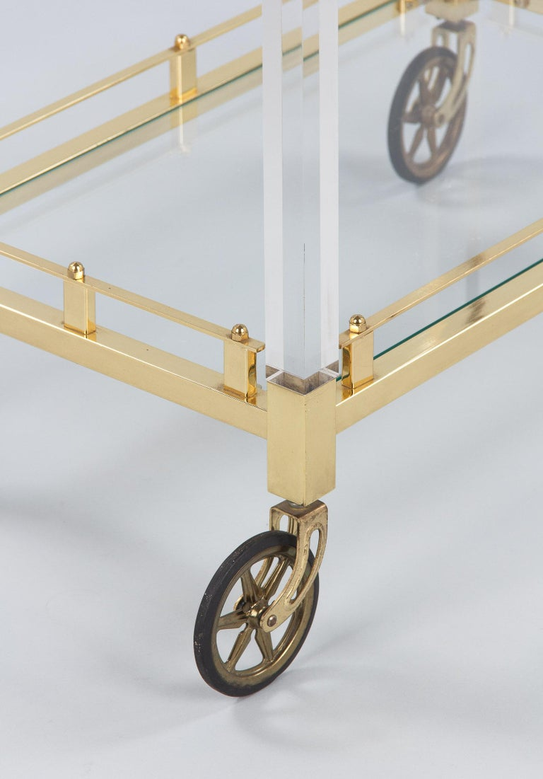Spanish Vintage Lucite and Brass Bar Cart, 1970s For Sale 12