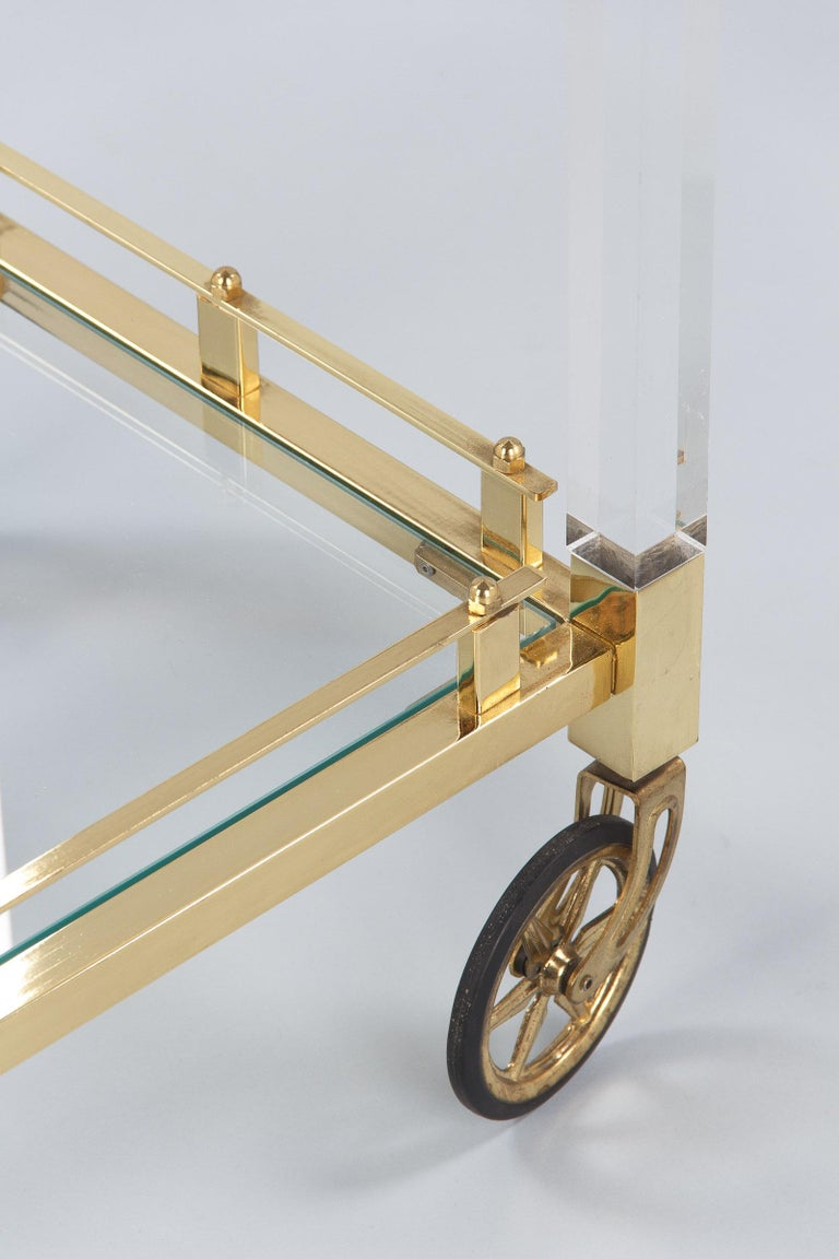 Spanish Vintage Lucite and Brass Bar Cart, 1970s For Sale 13