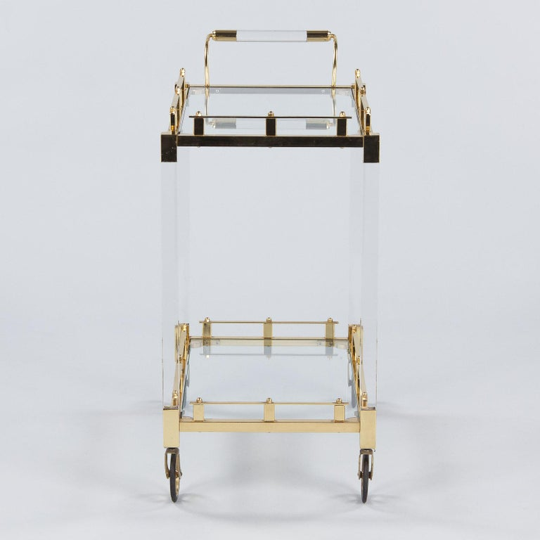 Spanish Vintage Lucite and Brass Bar Cart, 1970s For Sale 14