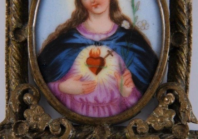 Gothic Revival Spanish Virgin Mary Painting on Porcelain Framed in Gold Gilded Bronze Pendant For Sale
