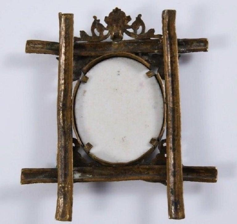 18th Century Spanish Virgin Mary Painting on Porcelain Framed in Gold Gilded Bronze Pendant For Sale