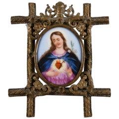 Spanish Virgin Mary Painting on Porcelain Framed in Gold Gilded Bronze Pendant