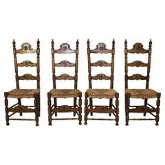 Spanish Walnut Ladder Back Chairs with Rush Seats, circa 1900