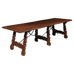 Spanish Walnut Lyre Leg Dining Table