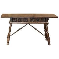Spanish Walnut Sofa Table with Wrought Iron