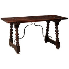 Spanish Walnut Table with Trestle-Legs and Forged Iron Stretcher