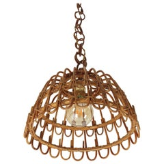 Spanish Wicker and Rattan Pendant or Hanging Lamp, Mid-20th Century Period