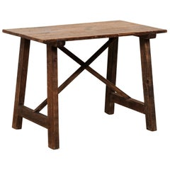 Spanish Wood Occasional Table or Smaller Sized Desk with X-Stretcher