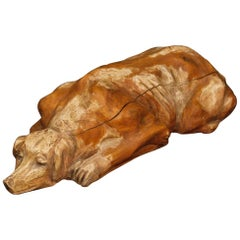 Spanish Wooden Dog Sculpture from 20th Century