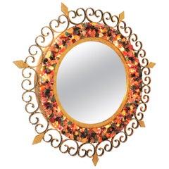 Spanish Wrought Gilt Iron Scroll Work Gemstones Mosaic Backlit Sunburst Mirror