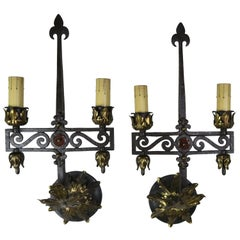 Spanish Wrought Iron 2-Light Sconces, Pair