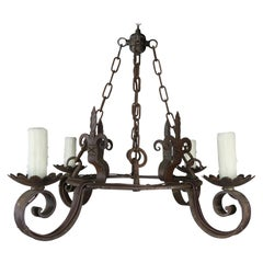 Spanish Wrought Iron 4-Light Chandelier