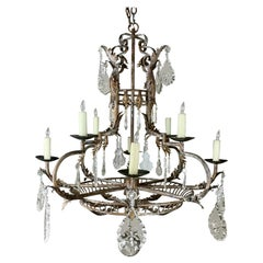 Spanish Wrought Iron and Crystal Chandelier 1930's