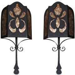 Spanish Wrought Iron and Mica Wall Sconces, Pair