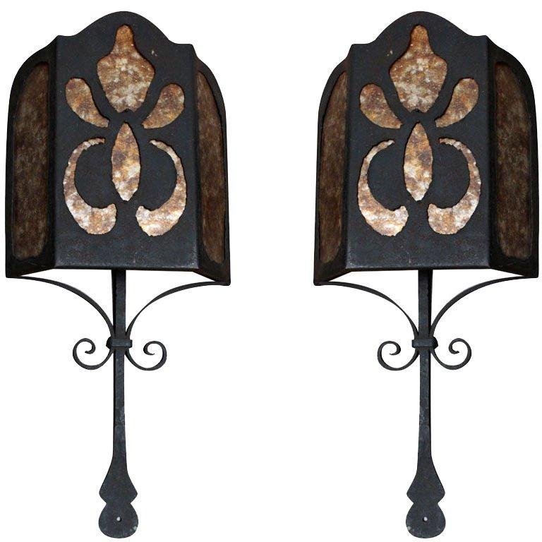 hot sale online 8fa2f 163db Spanish Wrought Iron and Mica Wall Sconces, Pair