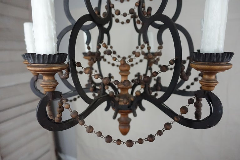 Wood Beaded Light Fixture: Spanish Wrought Iron And Wood Beaded Chandelier For Sale