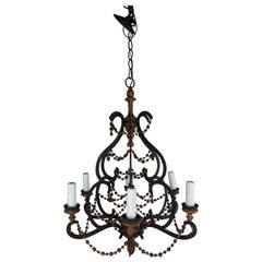 Spanish Wrought Iron and Wood Beaded Chandelier
