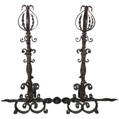 Spanish Wrought Iron Fireplace Andirons, Pair