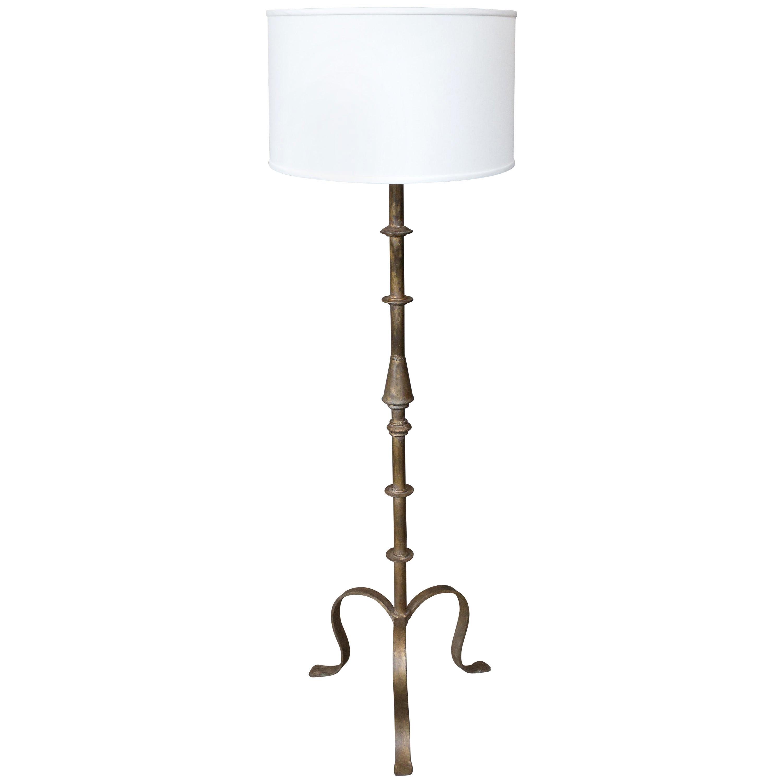 Spanish Wrought Iron Floor Lamp with Tripod Base
