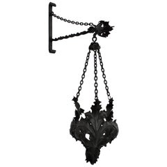 Spanish Wrought Iron Gothic Style Wall Hanging Planter with Leafed Design