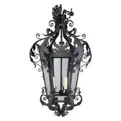 Spanish Wrought Iron Lantern w/ Flowers & Acanthus Leaves, Circa 1920's