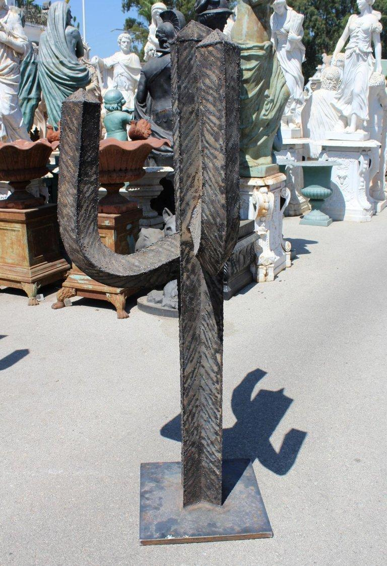 Spanish Wrought Iron Set of Three Cactus with Arms For Sale 7
