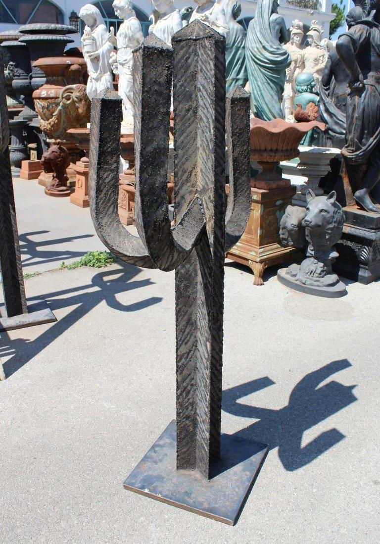 Spanish Wrought Iron Set of Three Cactus with Arms For Sale 8